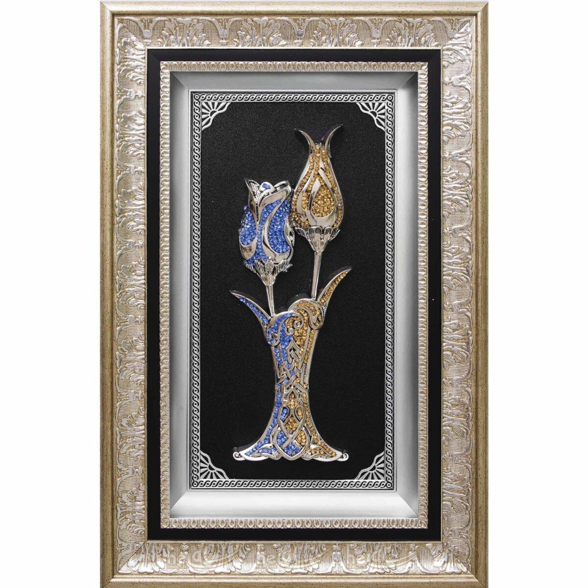 36x56cm Vazolu Lale ve Gül Kristal Taşlı Dekoratif Lüks Çerçeve Tablo Ayetli Ürünler