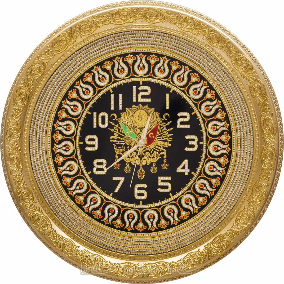 56cm Osmanlı Armalı Lale Motifli Daire Duvar Saati Saatler