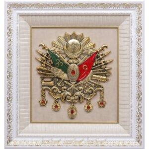 68x72cm Beyaz Büyük Boy Osmanlı Devlet Arması Kabartma Lüks Çerçeveli Tablo Osmanlı Tabloları