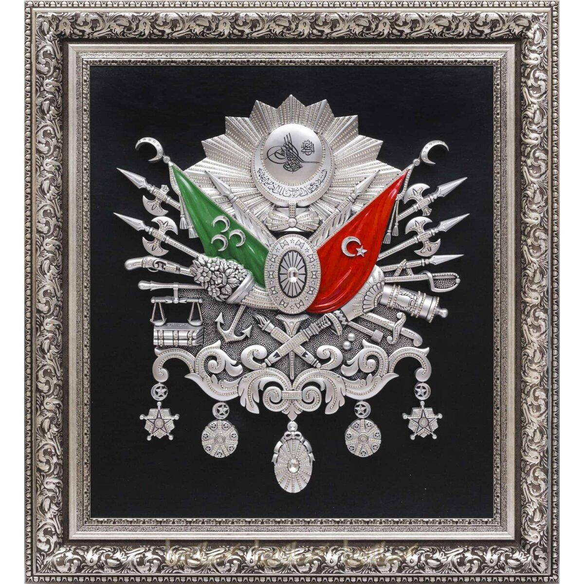 100x115cm Taşlı Dev, Mega Büyük Boy 1. sınıf Lüks Orijinal Osmanlı Devlet Arması, Tuğrası Deri Tablo Osmanlı Tabloları