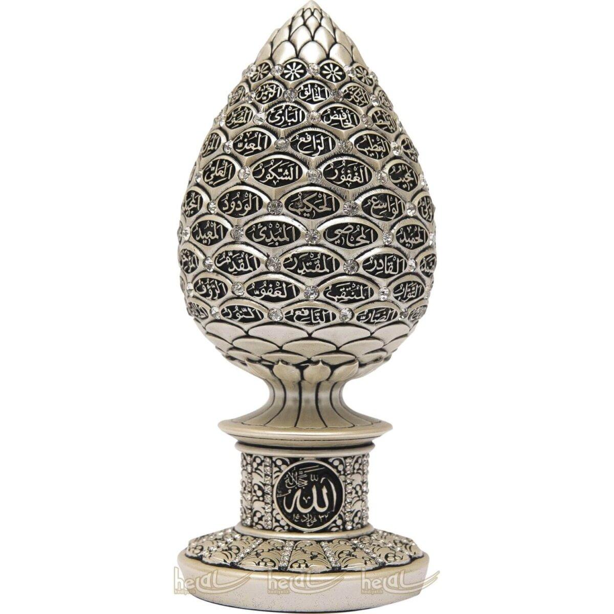 Esmaül Hüsna Altın Varaklı Kabartma Yazılı Kozalak Tasarımı Kristal Taşlı Lüks Biblo ( 8×19 cm) Biblolar