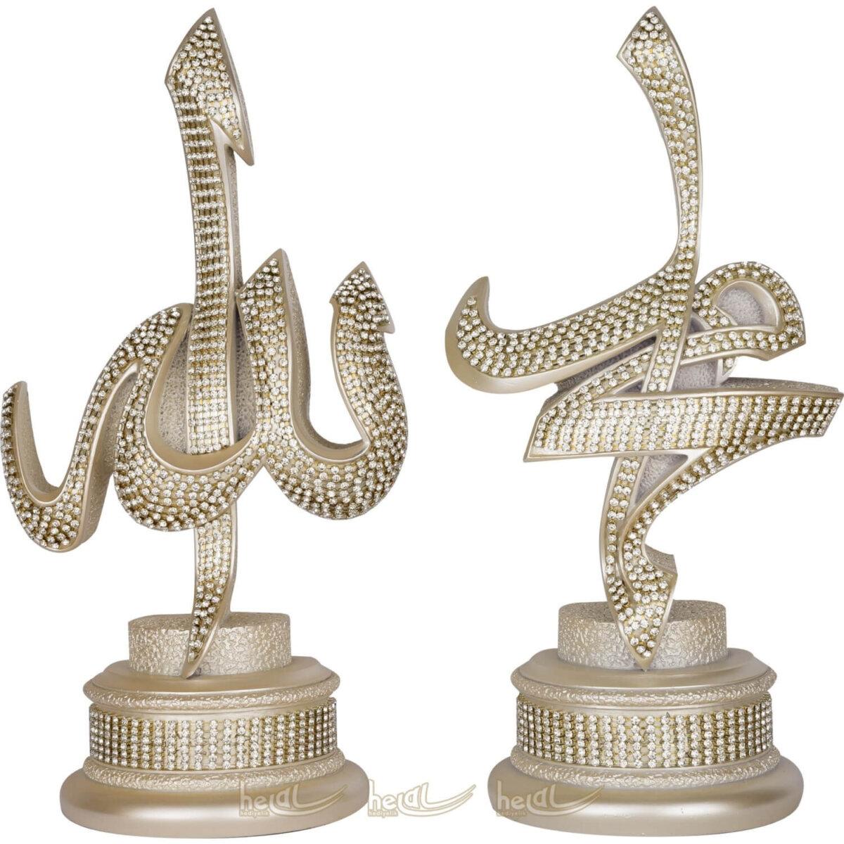 Allah cc. – Muhammed sav. Lafzı Kristal Taşlı 2'li Biblo Takımı (11×22 cm) Biblolar