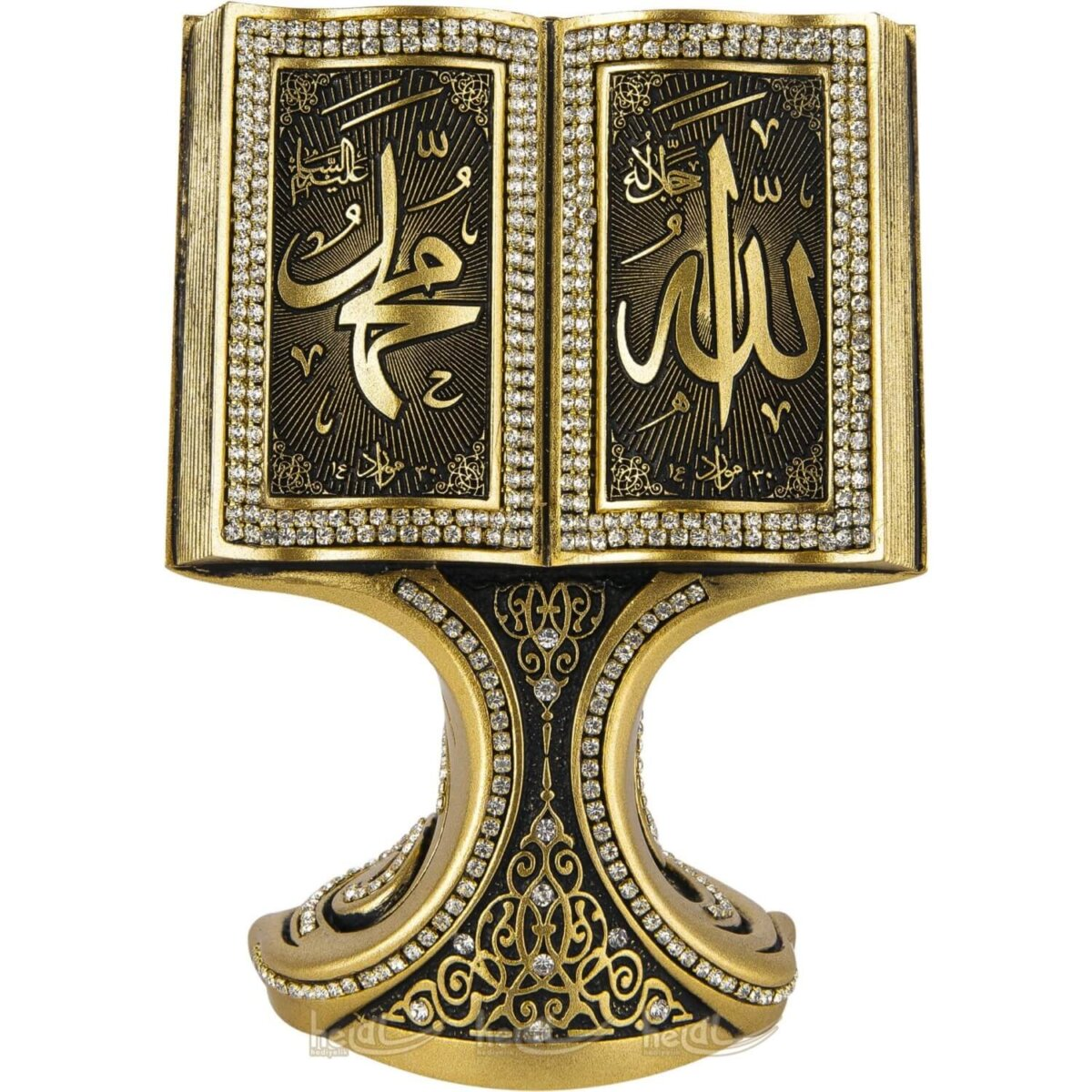 Allah cc.- Muhammed sav. Lafzı Kabartma Yazılı Kitap Kuran Lüks Biblo Dini Hediyeler ( 11×16 cm ) Biblolar