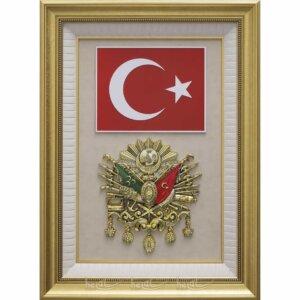 71x94cm Büyük Osmanlı Arması Tuğrası – Türk Bayrağı Çerçevelik Lüks Tablo Osmanlı Tabloları