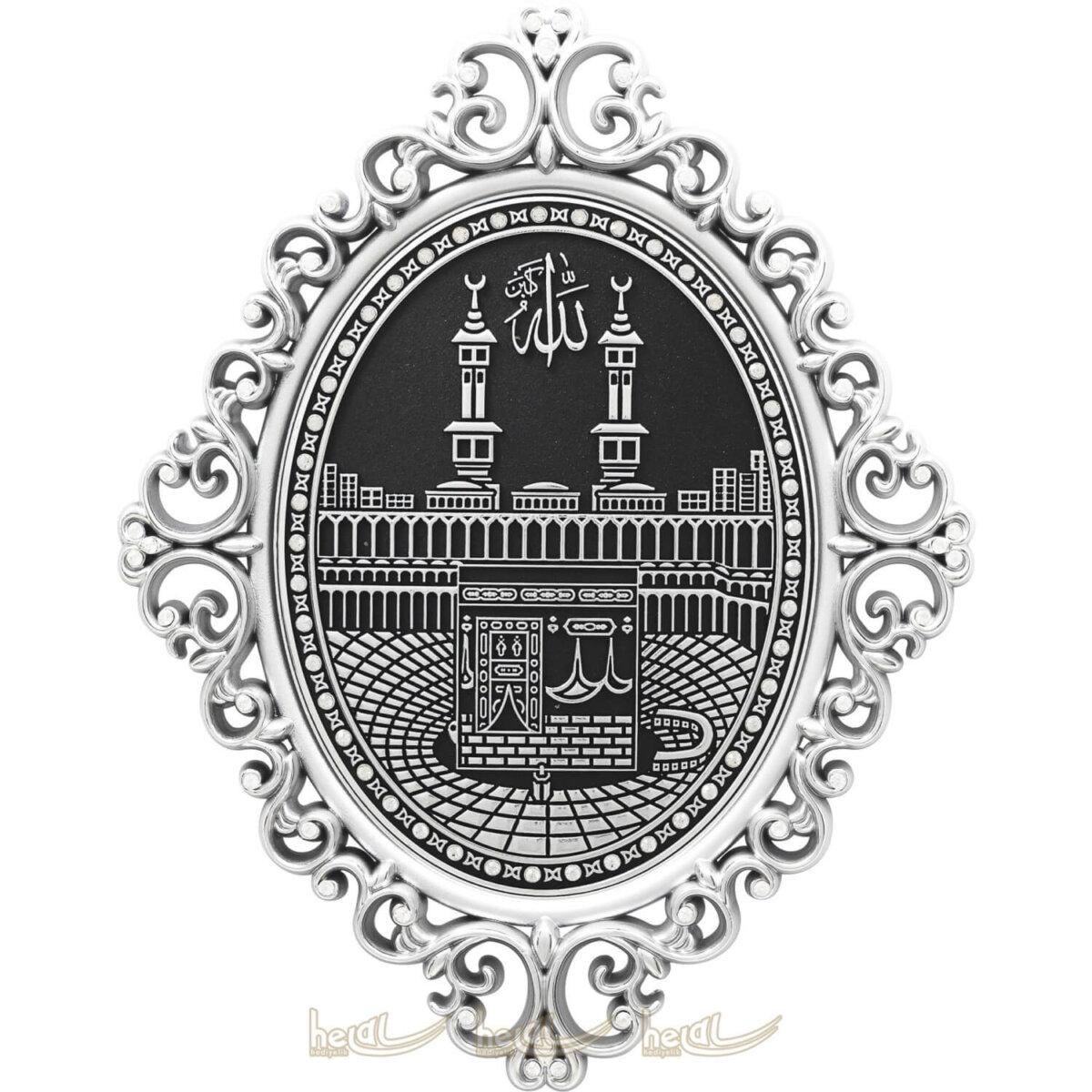 24x31cm Taşlı Kabe-i Şerif Mekke Hac Dini Hediye Osmanlı Motifli Modern Lüks Duvar Panosu Kabe