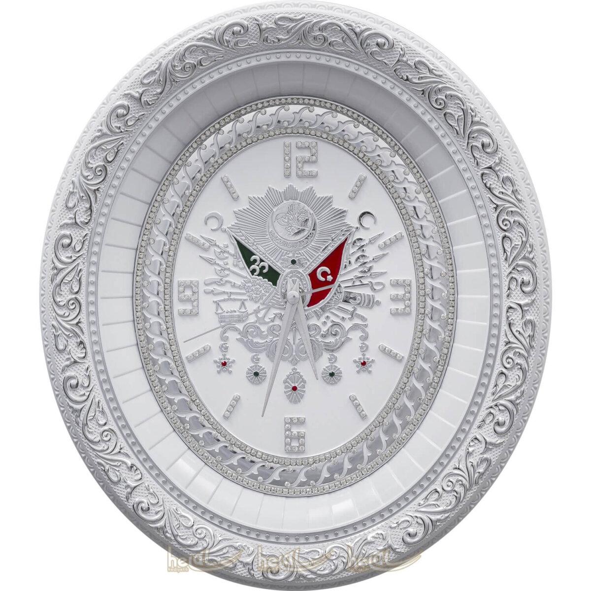 32x37cm Osmanlı Devlet Armalı Tuğra Duvar ve Masa Üstü Saat Tablo Saatler