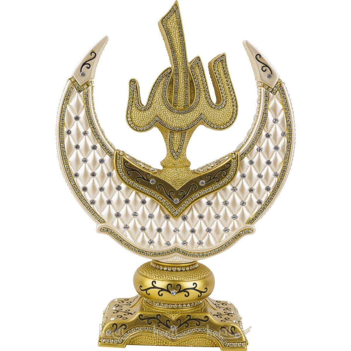 Baklava Desenli İnci Tasarımı Allah cc. Muhammed sav. Lafzı Hilalli 2′ li Biblo Seti (21×29 cm ) Biblolar
