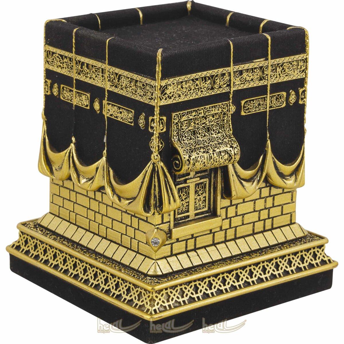 Küçük Boy Kadifeli 3 Boyutlu Orijinal Kabe Biblo Taşlı Lüks Dini Hediyeler ( 9×9,5×11 cm) Biblolar