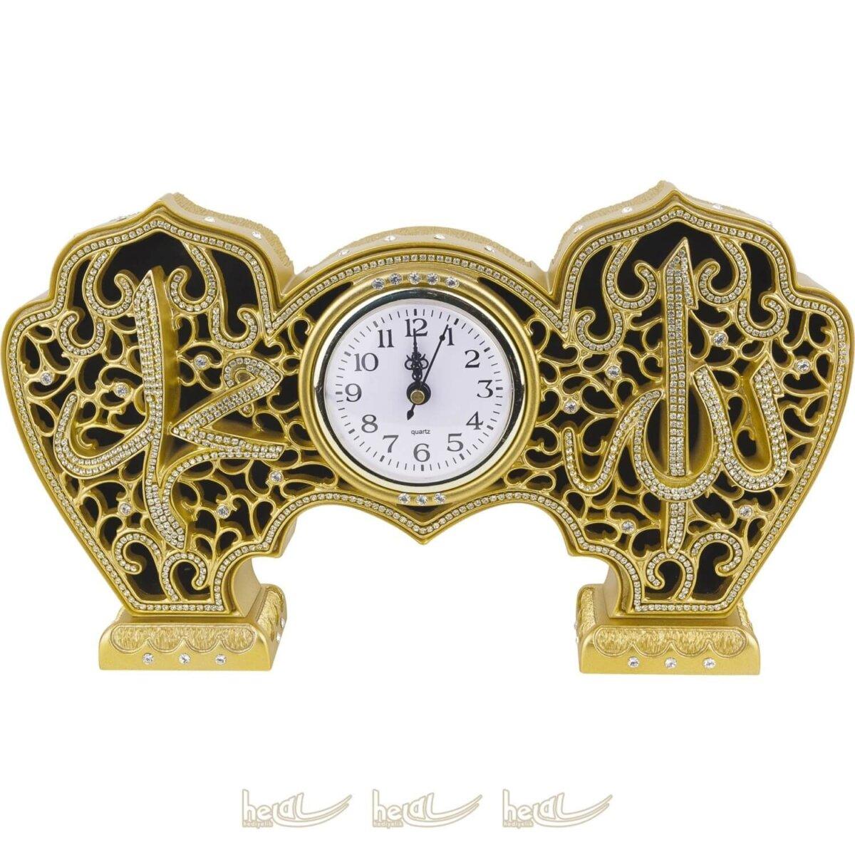 Allah cc. – Muhammed sav. Köprülü Masa Üstü Saatli Kristal Taşlı Lüks Biblo ( 19×33 cm) Biblolar