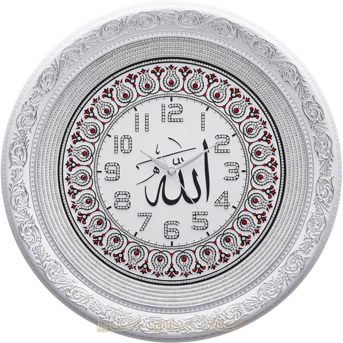 56cm Allah Yazılı İsmi Celil Lafızlı Lale Motifli Daire Duvar Saati Saatler