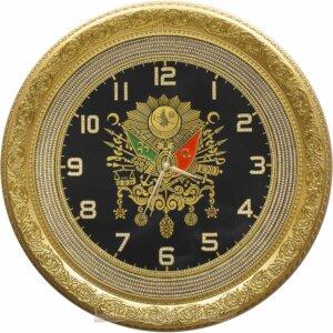 56cm Büyük Lüks Taşlı Osmanlı Devlet Armalı Tuğra Duvar Saati Tablo Saatler