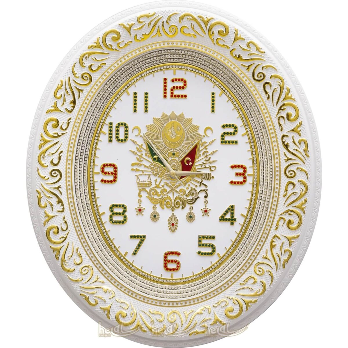 44x51cm Lüks Taşlı Osmanlı Devlet Armalı Tuğra Duvar Saati Tablo Saatler
