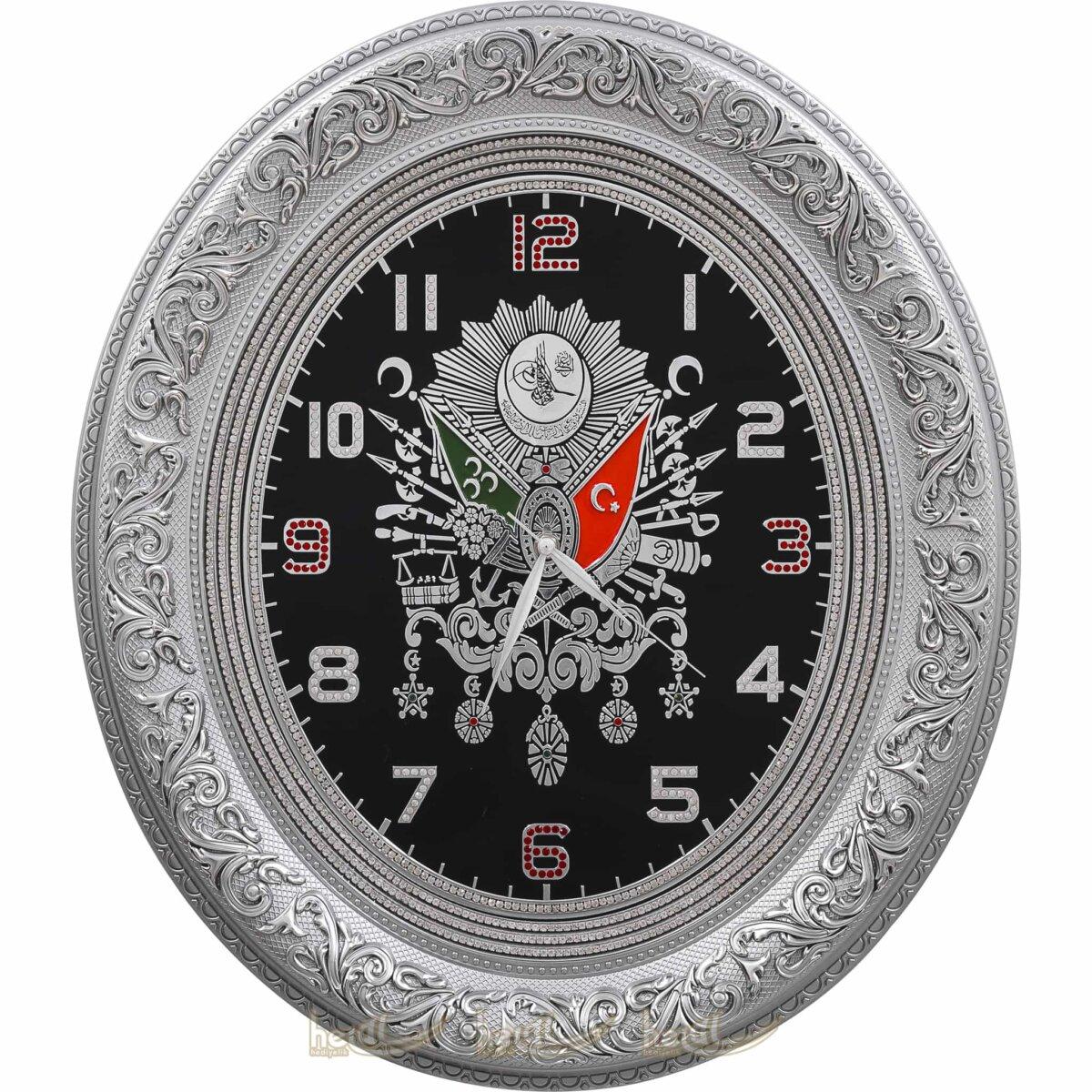 52x60cm Büyük Lüks Taşlı Osmanlı Devlet Armalı Tuğra Duvar Saati Tablo Saatler