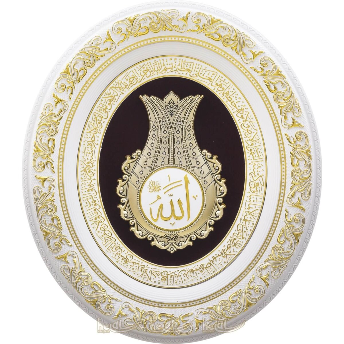 52x60cm Lale İsmi Celil Allah c.c. Yazılı Ayetel Kürsili Taşlı Lüks Çerçeve Tablo Ayetli Laleler