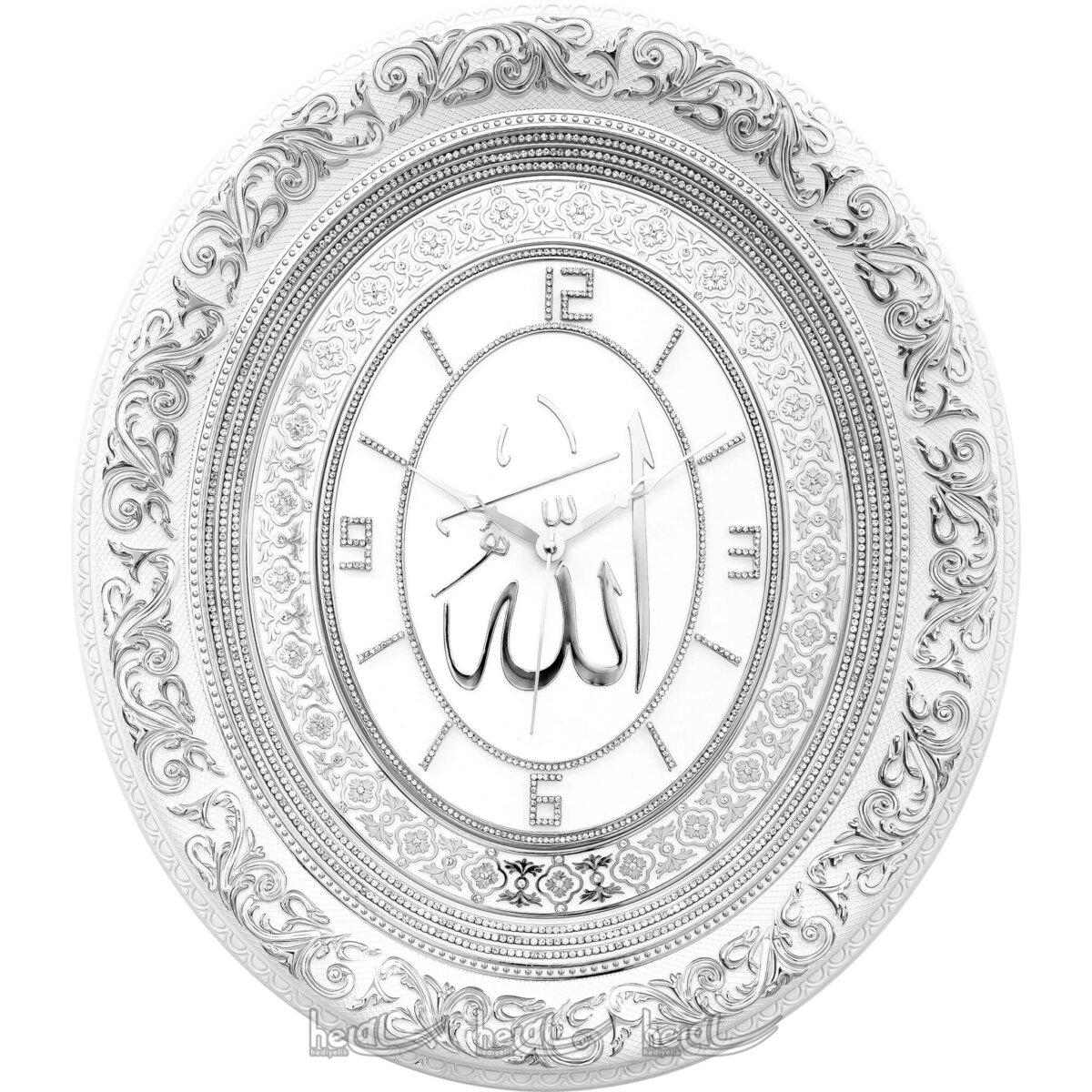 52x60cm Büyük Lüks Taşlı Allah cc.- İsmi Celil Lafzlı Oval Duvar Saati Tablo Saatler