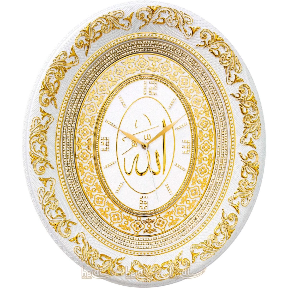 44x51cm Lüks Taşlı Allah cc. İsmi Celil Lafzlı Duvar Saati Tablo Saatler
