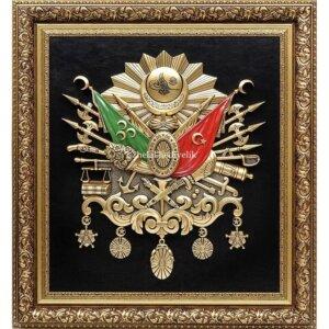 72x76cm Paspartusu Taşlı Büyük Boy Osmanlı Devlet Arması Kabartma Lüks Çeçeveli Tablo Osmanlı Tabloları