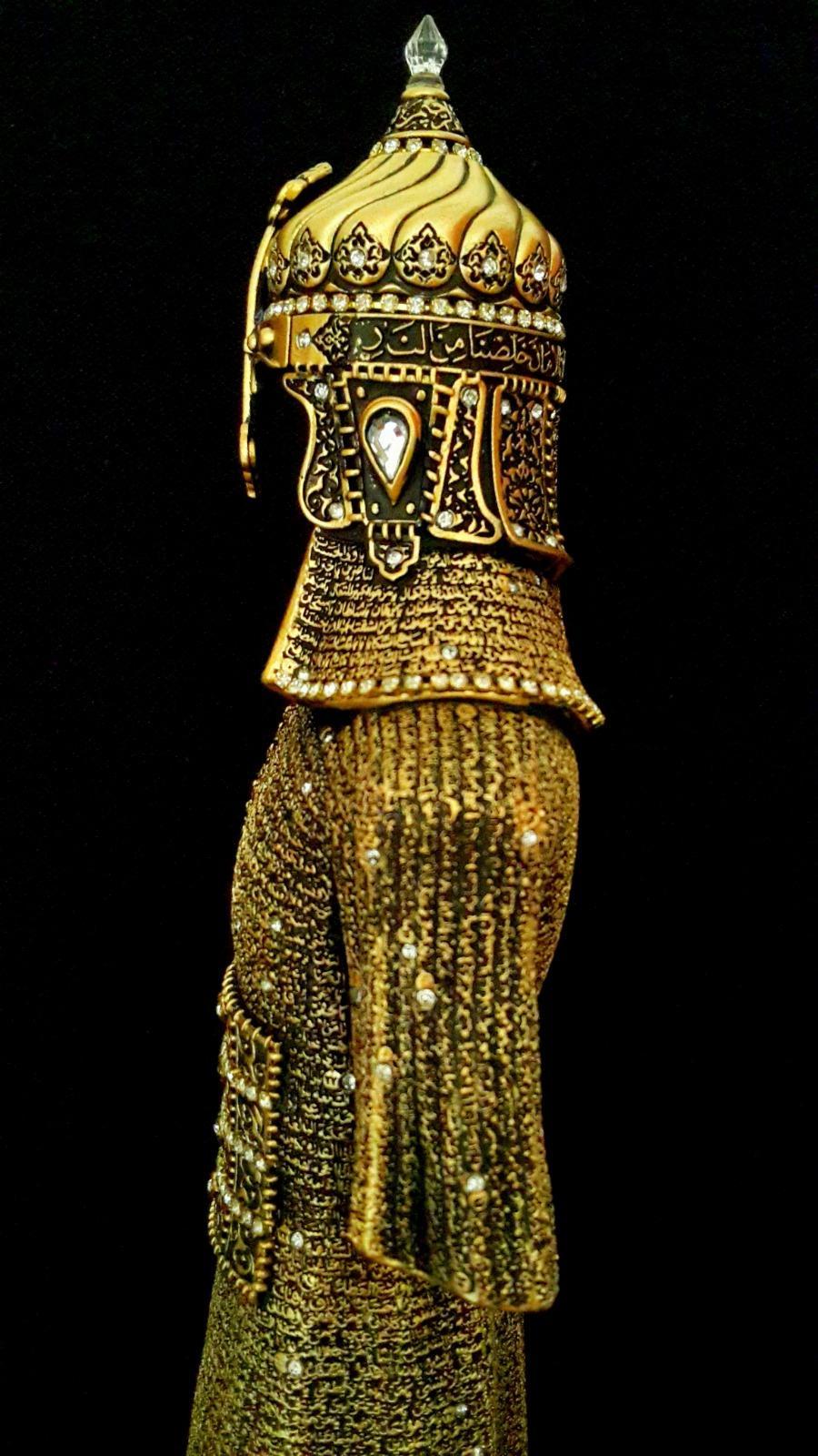Büyük Boy Cevşen-ül Kebir Dualı Osmanlı Asker Zırhı Yeniçeri, Alp Orijinal Biblo ( 12×34 cm) Biblolar