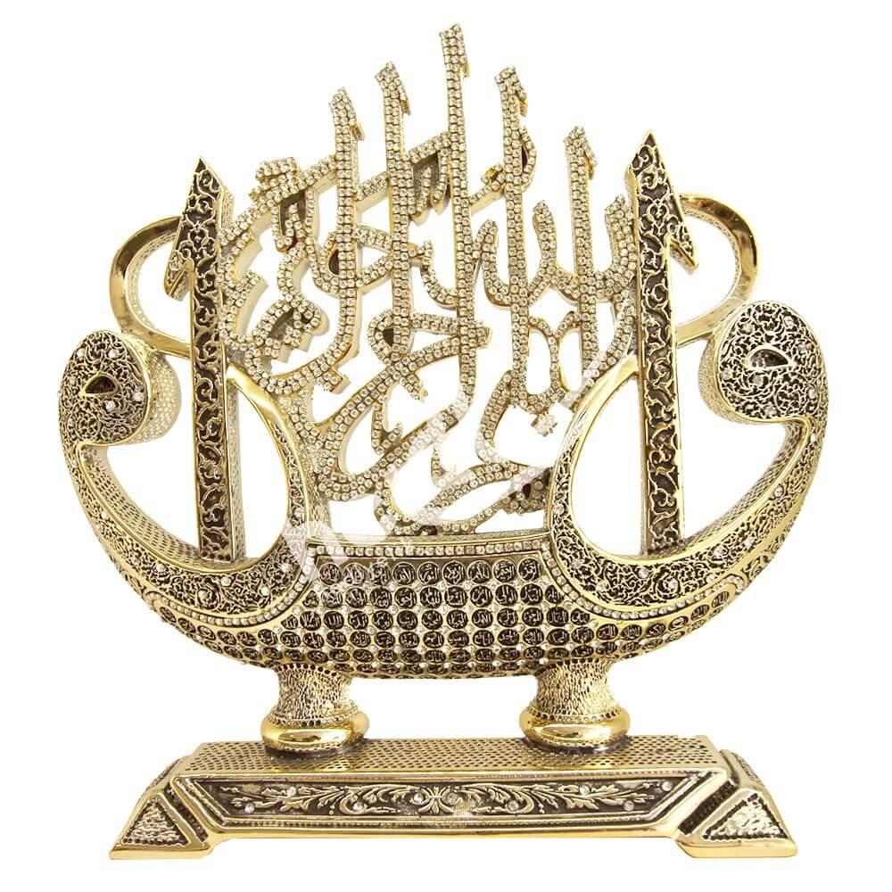 Elif – Vav – Esmaül Hüsna- Besmele Yazılı Gemi Taşlı Biblo (30x31cm) Biblolar