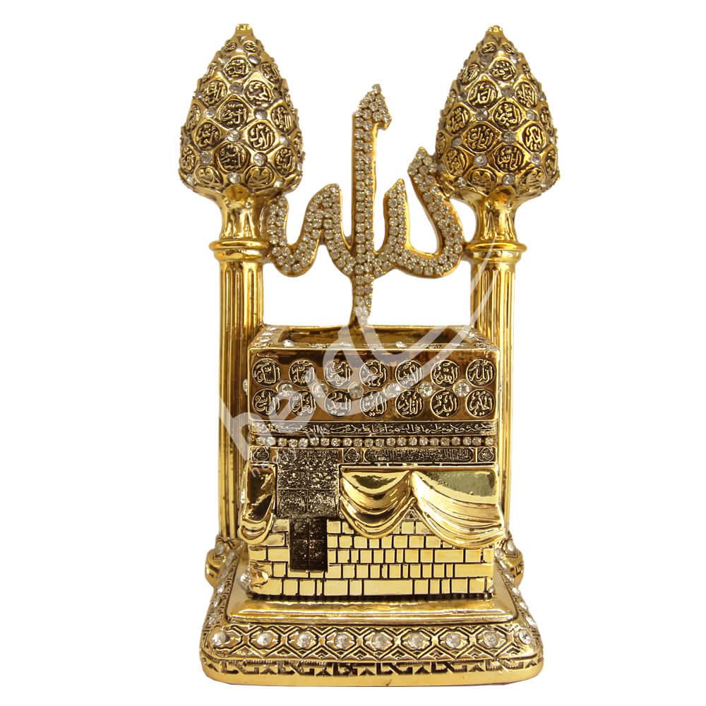 19x20cm Kozalak Minareli Kabe – Allah cc ve Esmaül Hüsna Taşlı Biblo Biblolar