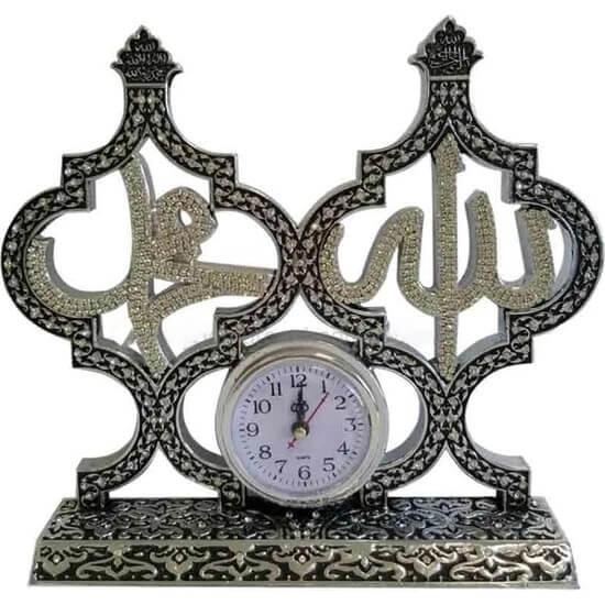27x30cm Allah cc. Muhammed sav. Taşlı İsmi Şerifi Kuleli Saat Biblo Biblolar