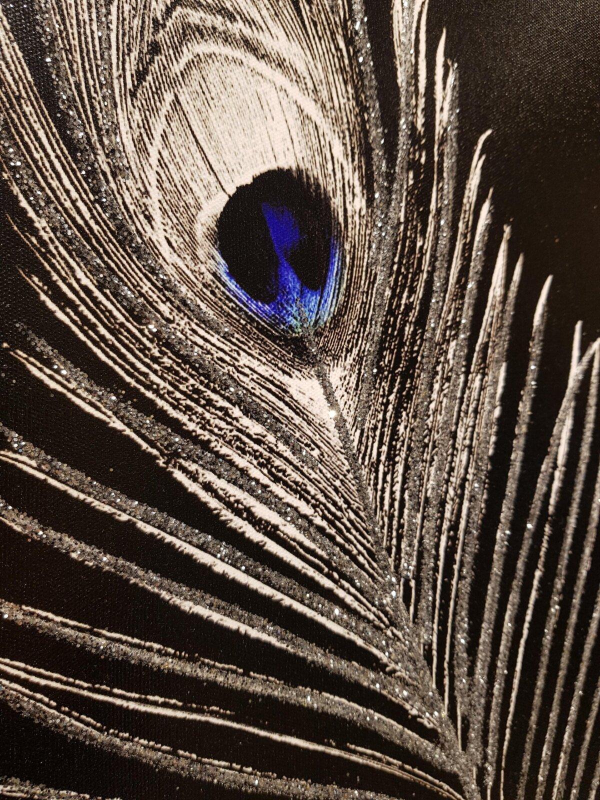 50X70CM Aynalı 3′ lü Tavus Kuşu Kanvas Tablosu Lüks Sim Boyalı Dekoratif