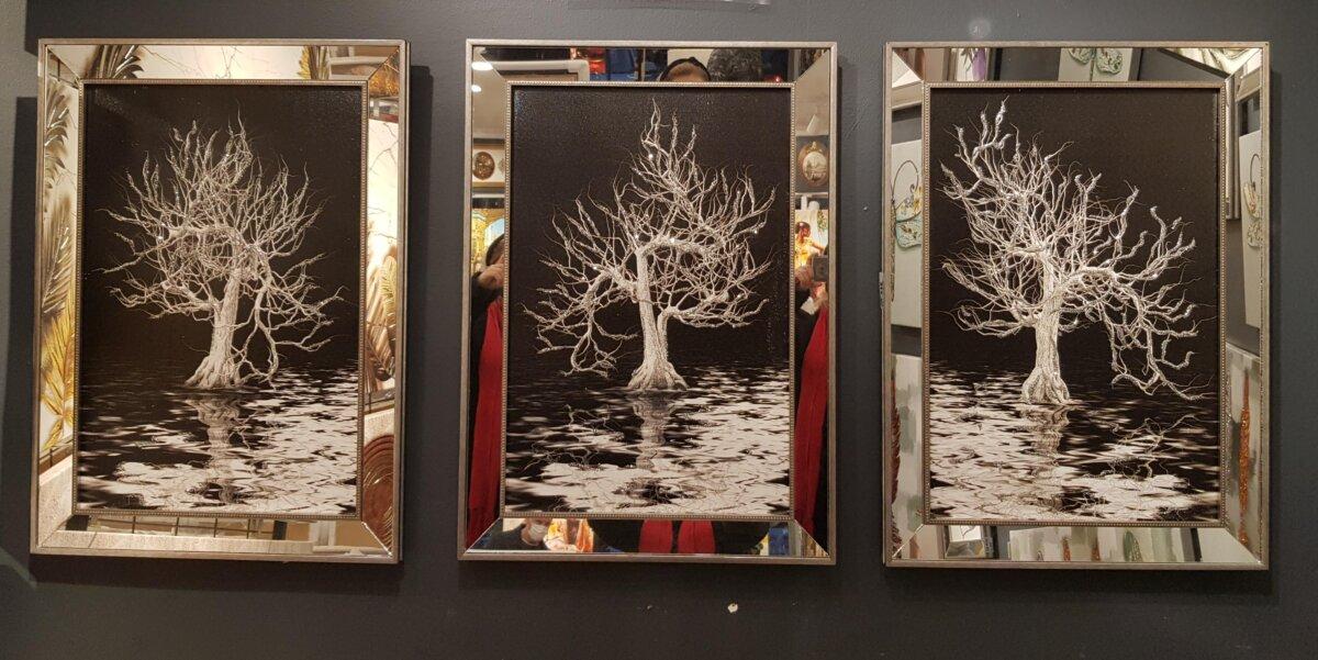 50X70CM Aynalı 3′ lü Ağaçlar Kanvas Tablosu Lüks Sim Boyalı Dekoratif