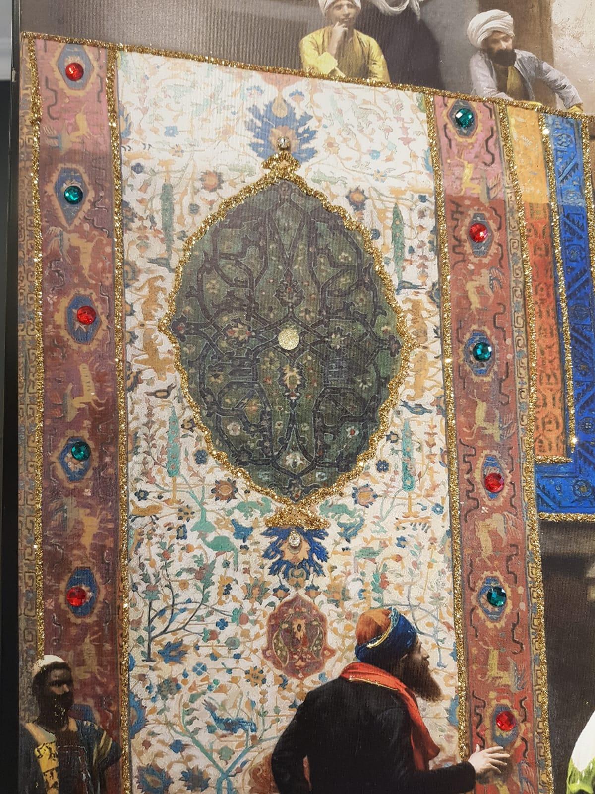 75x100CM Büyük Osmanlı Kanvas Tablo Taşlı, Yaldız Boya Kabartmalı Kanvas Tablo