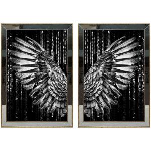 50X70CM Aynalı 2′ li Gümüş Melek Kanatları Kanvas Tablosu Lüks Sim Boyalı Dekoratif
