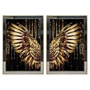 50X70CM Aynalı 2′ li Altın Melek Kanatları Kanvas Tablosu Lüks Sim Boyalı Dekoratif