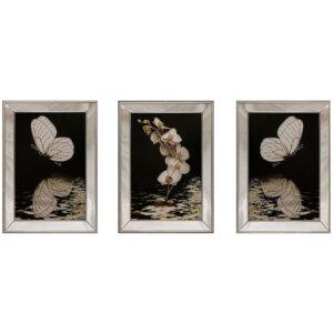 50X70CM Aynalı 3′ lü Kelebekler Kanvas Tablosu Lüks Sim Boyalı Dekoratif