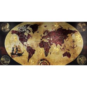 60x120CM Büyük Simli, Yaldız Kabartmalı Dekoratif Dünya Tablosu Dekoratif