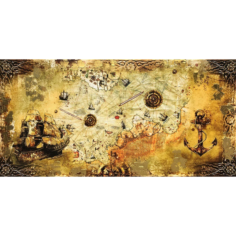 70x140CM Büyük Pirireis Renkli Haritası Kanvas Tablo Yaldız Boya Kabartmalı Dekoratif