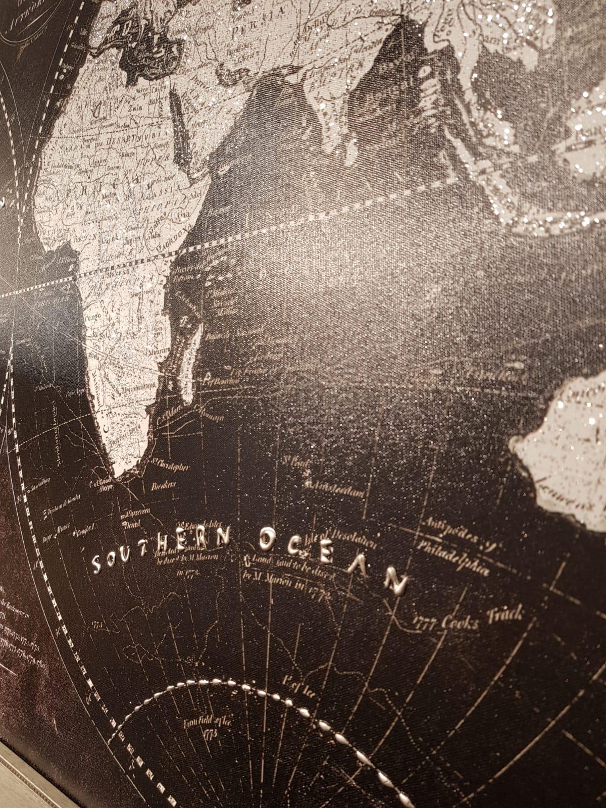 60x120CM Büyük Simli Lüks Dünya Haritası Kanvas Tablo Dekoratif