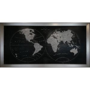 80X150CM Çerçeveli Dünya Haritası Kanvas Simli Lüks Tablo Dekoratif