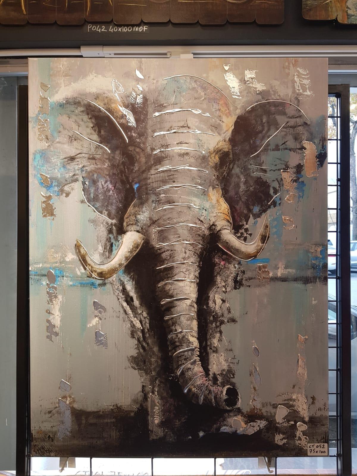 90X120CM Büyük Fil Yağlı Boya Detaylı Yaldız Kabartmalı Lüks Kanvas Tablo Dekoratif