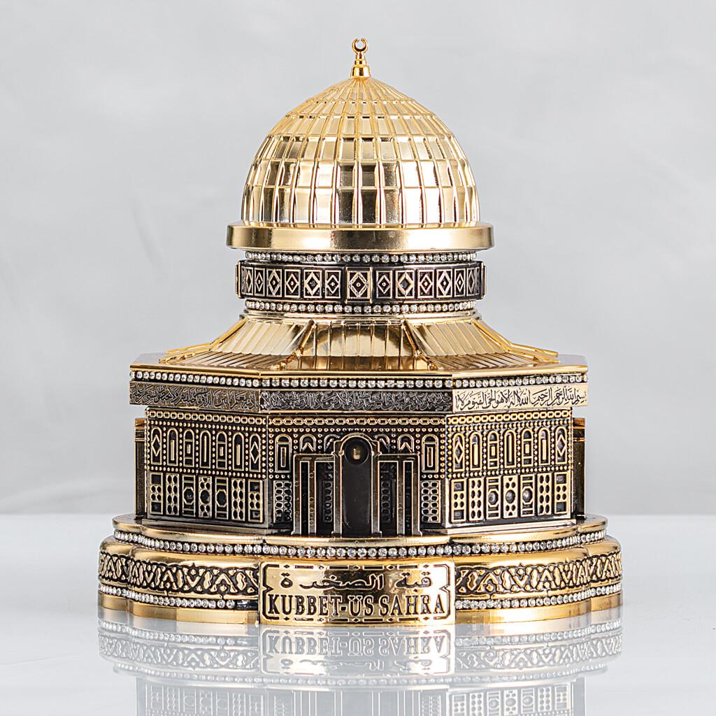 20X23CM Mescidi Aksa, Kubbetus Sahra Kuran Kabı Büyük Maket Biblo Biblolar