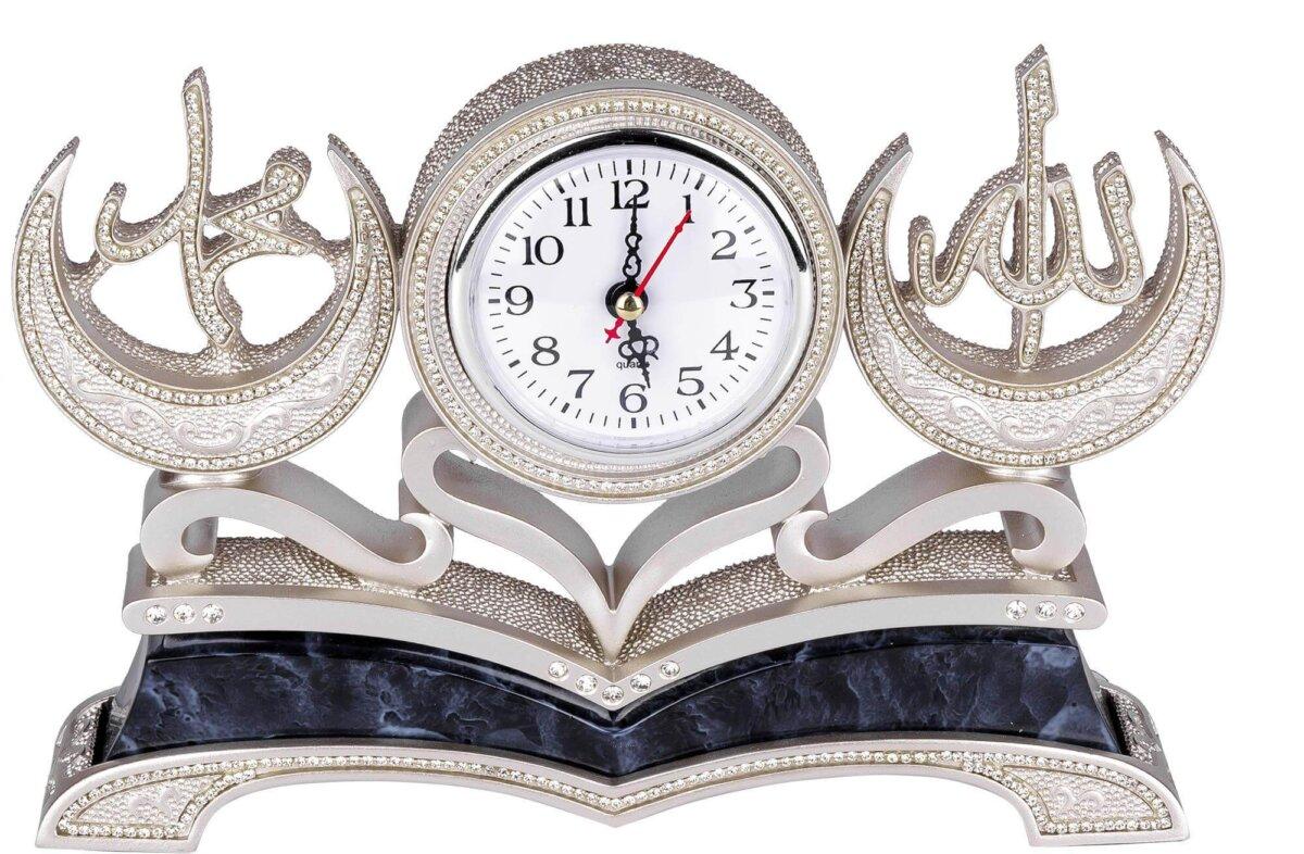 Hilal Allah cc – Muhammed sav. Mermer Desenli Masa Saati Biblo 18x27cm Biblolar