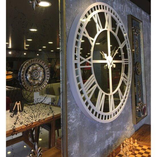 100 cm Aynalı Beyaz Büyük Duvar Saati Saatler
