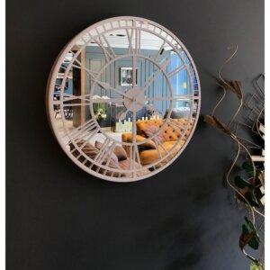 50 cm Aynalı Beyaz Metal Lüks Duvar Saati Saatler