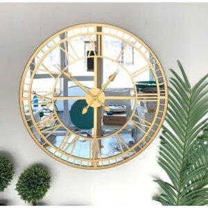60 cm Aynalı Gold Metal Lüks Duvar Saati Saatler