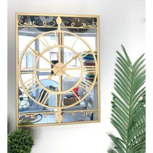 60 x 45 cm Aynalı Gold Metal Lüks Duvar Saati Saatler