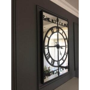 90 cm X 65 cm Siyah Metal Aynalı Büyük Lüks Duvar Saati Saatler