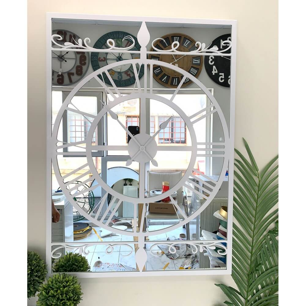 90 x 65 cm Aynalı Beyaz Metal Lüks Duvar Saati Saatler