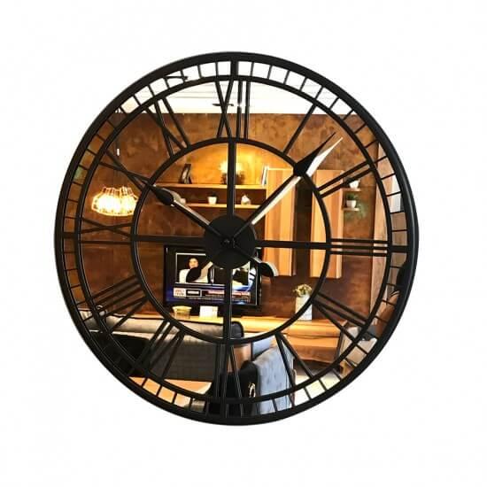 60 cm Aynalı Siyah Metal Lüks Duvar Saati Saatler