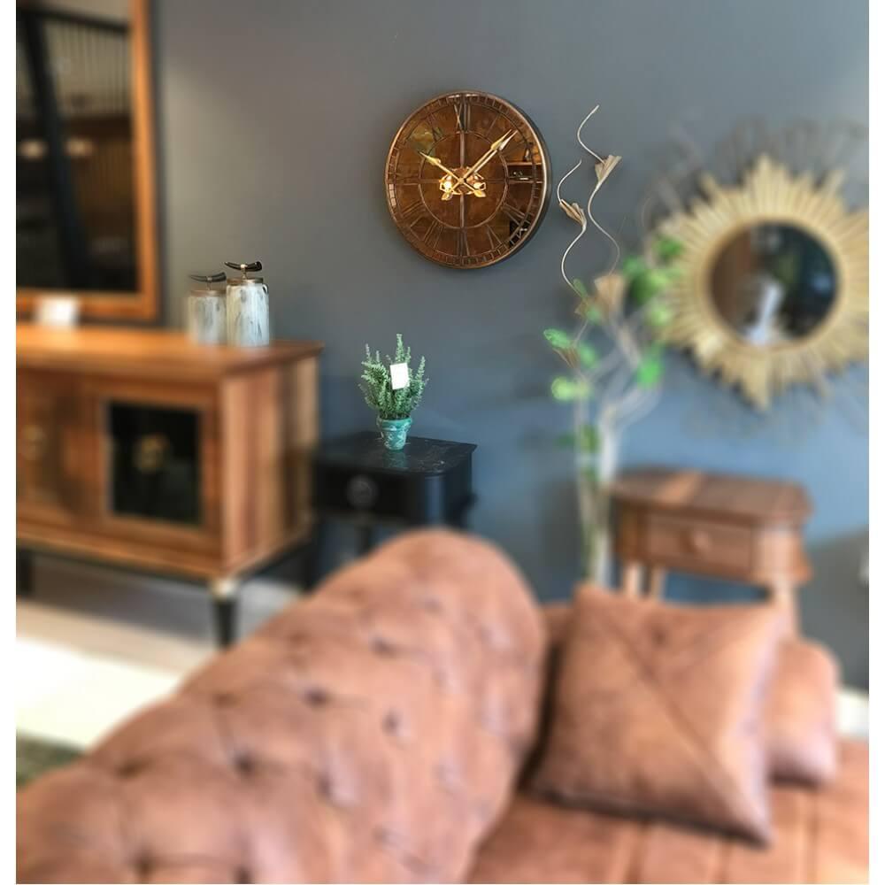 60 cm Aynalı Eskitme Metal Lüks Duvar Saati Saatler