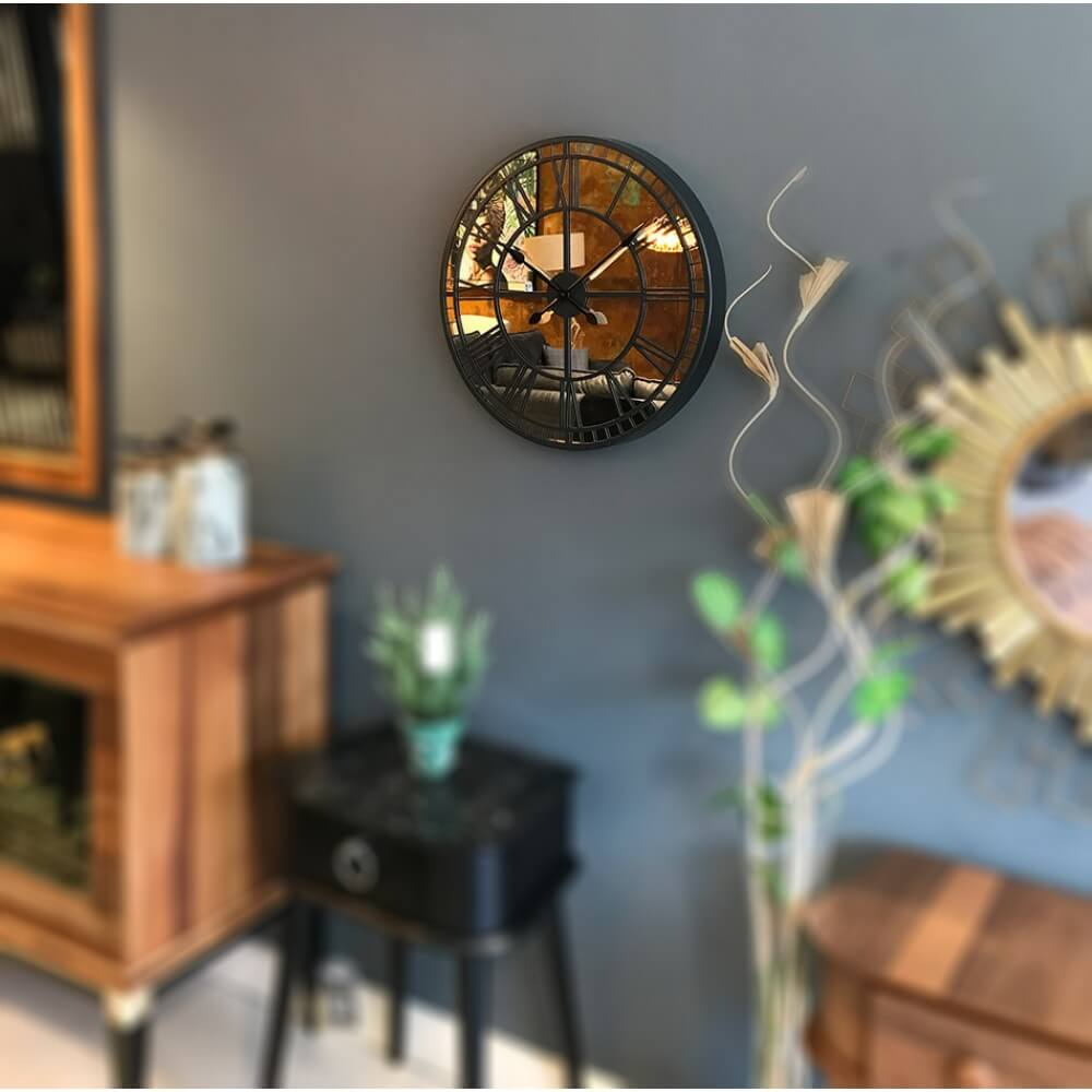 60 cm Aynalı Antrasit Metal Lüks Duvar Saati Saatler