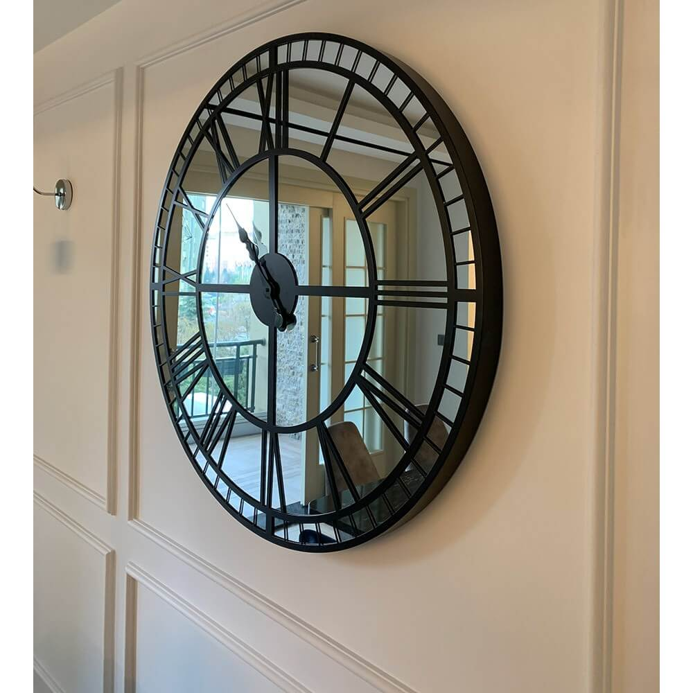 100 cm Aynalı Siyah Büyük Duvar Saati Saatler