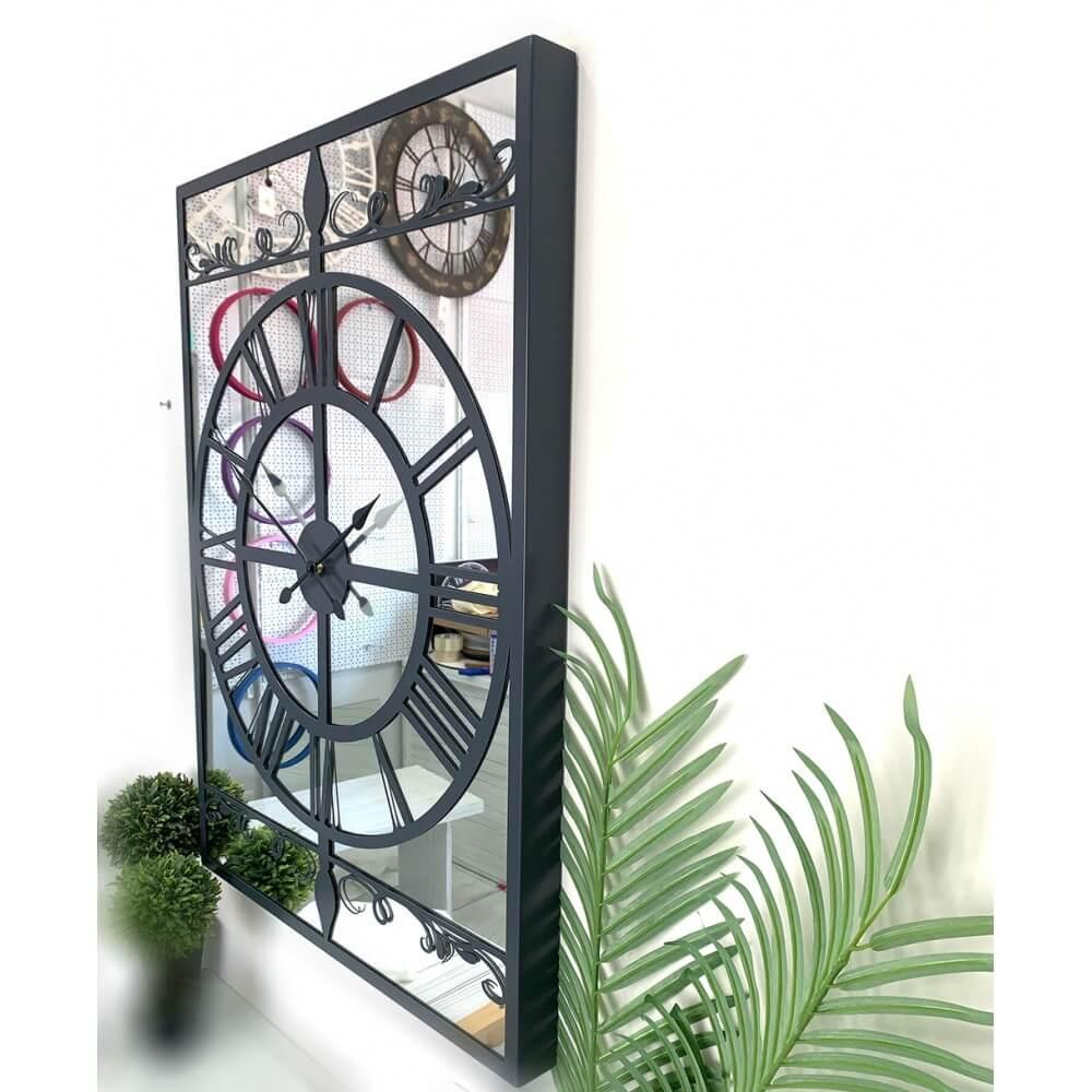 90 x 65 cm Aynalı Antrasit Metal Lüks Duvar Saati Saatler