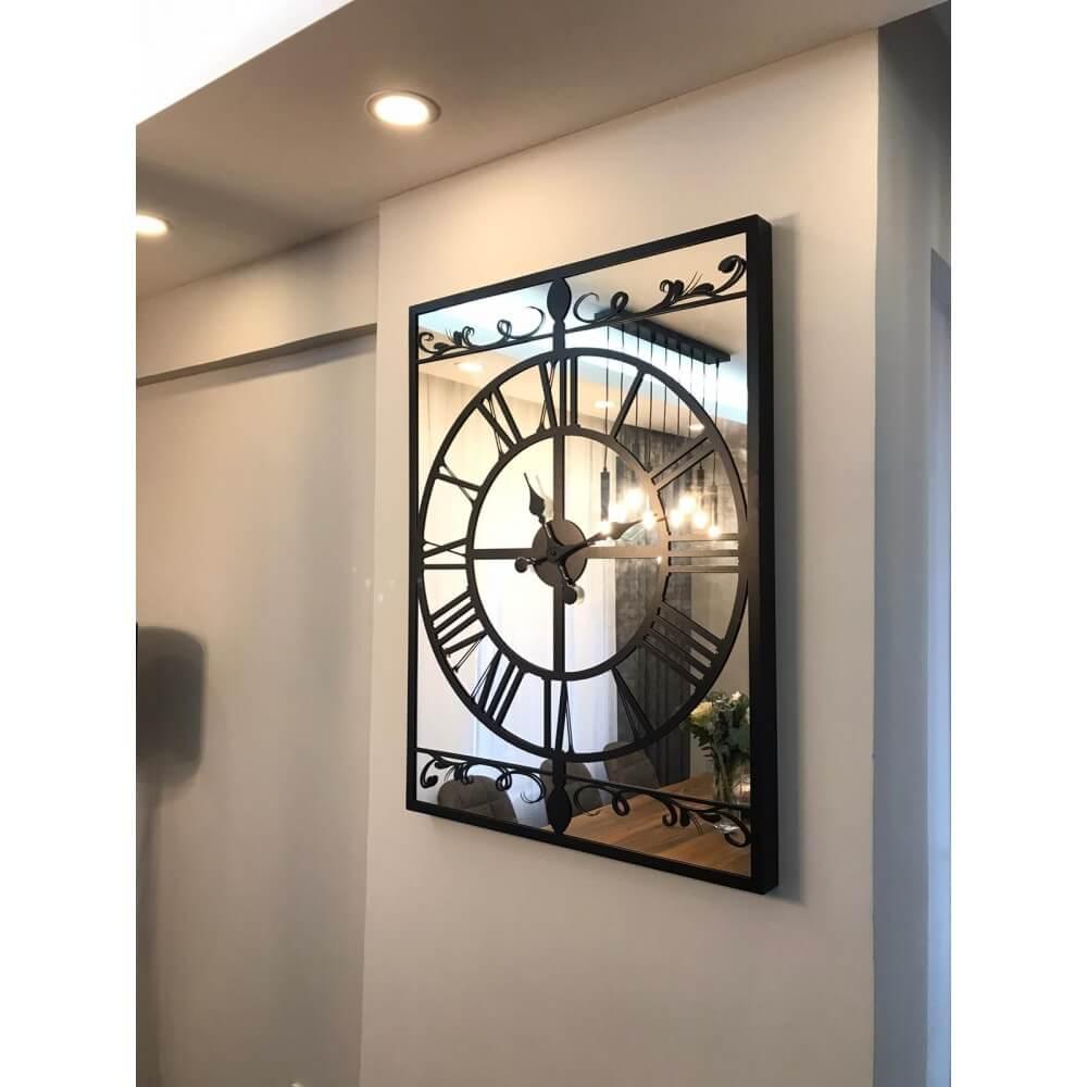 90 x 65 cm Aynalı Siyah Metal Lüks Duvar Saati Saatler